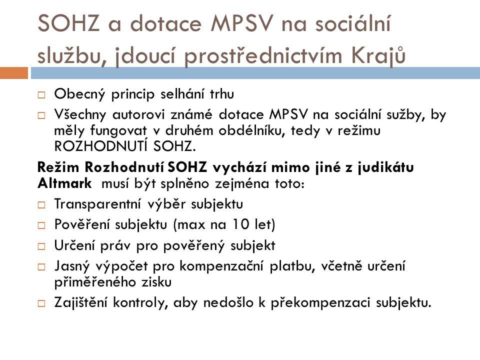 SOHZ a dotace MPSV na sociální službu, jdoucí prostřednictvím Krajů