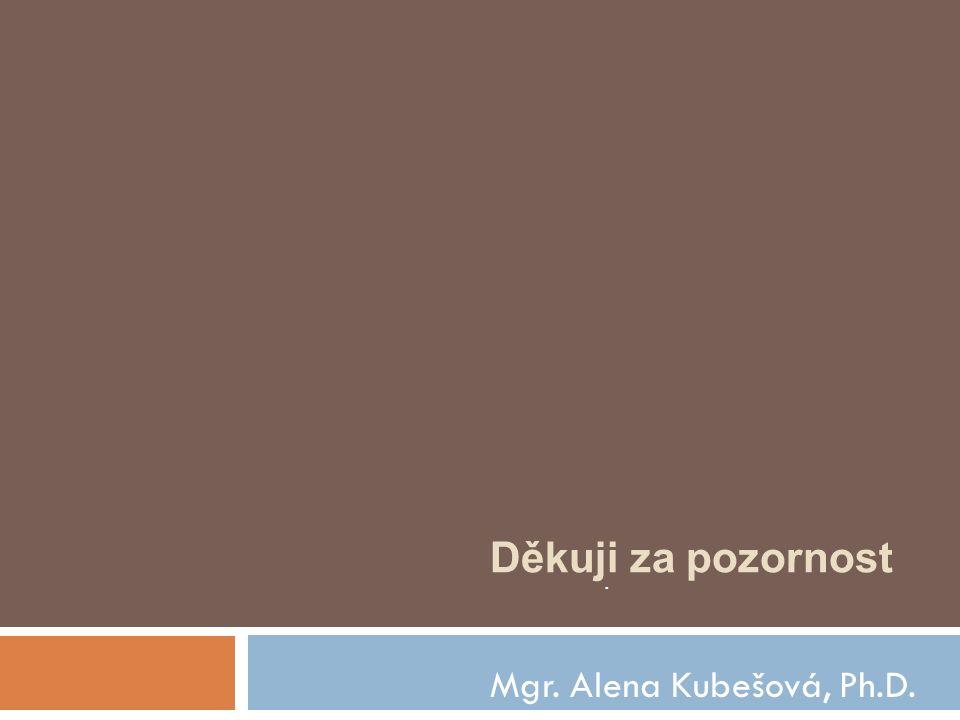 Děkuji za pozornost . Mgr. Alena Kubešová, Ph.D.