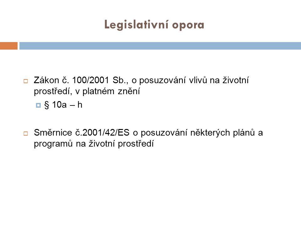 Legislativní opora Zákon č. 100/2001 Sb., o posuzování vlivů na životní prostředí, v platném znění.
