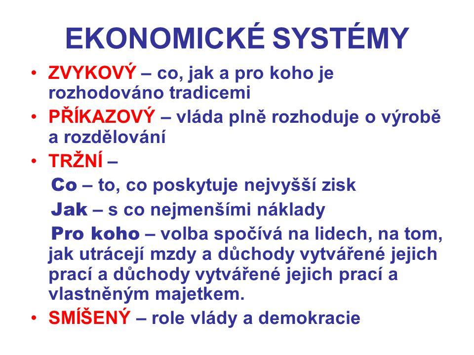 EKONOMICKÉ SYSTÉMY ZVYKOVÝ – co, jak a pro koho je rozhodováno tradicemi. PŘÍKAZOVÝ – vláda plně rozhoduje o výrobě a rozdělování.