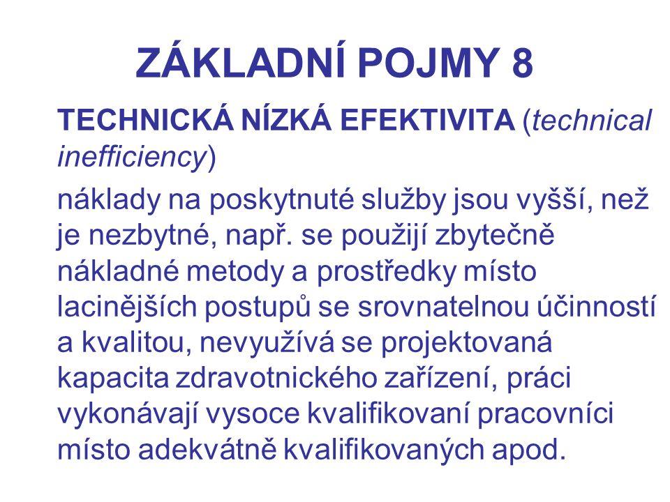 ZÁKLADNÍ POJMY 8 TECHNICKÁ NÍZKÁ EFEKTIVITA (technical inefficiency)