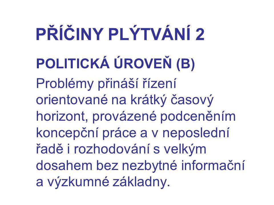 PŘÍČINY PLÝTVÁNÍ 2 POLITICKÁ ÚROVEŇ (B)