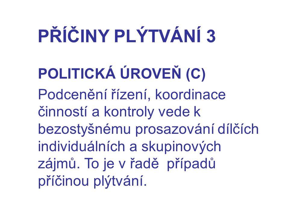 PŘÍČINY PLÝTVÁNÍ 3 POLITICKÁ ÚROVEŇ (C)