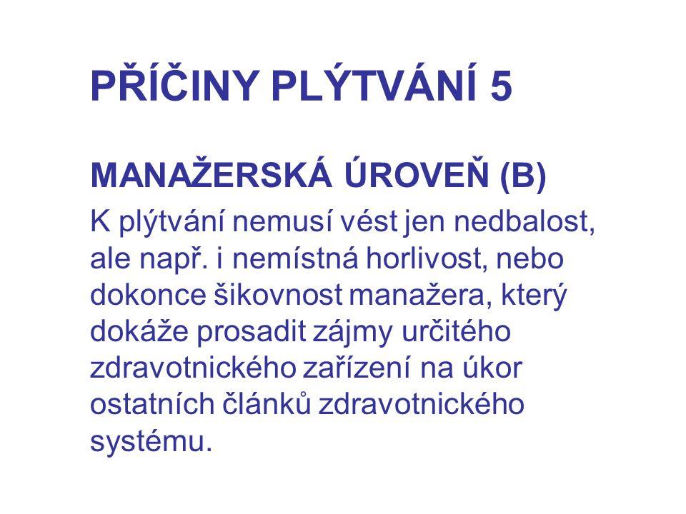 PŘÍČINY PLÝTVÁNÍ 5 MANAŽERSKÁ ÚROVEŇ (B)