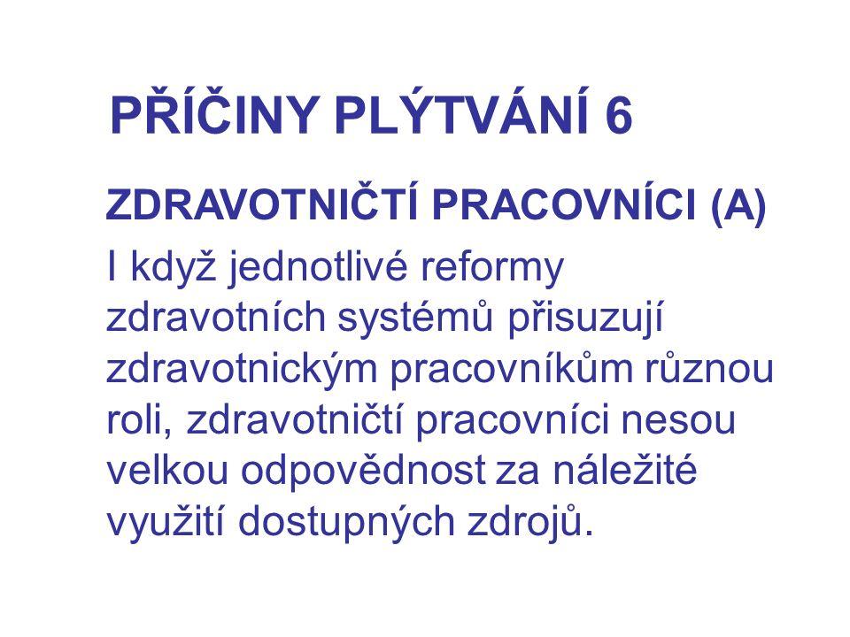 PŘÍČINY PLÝTVÁNÍ 6 ZDRAVOTNIČTÍ PRACOVNÍCI (A)