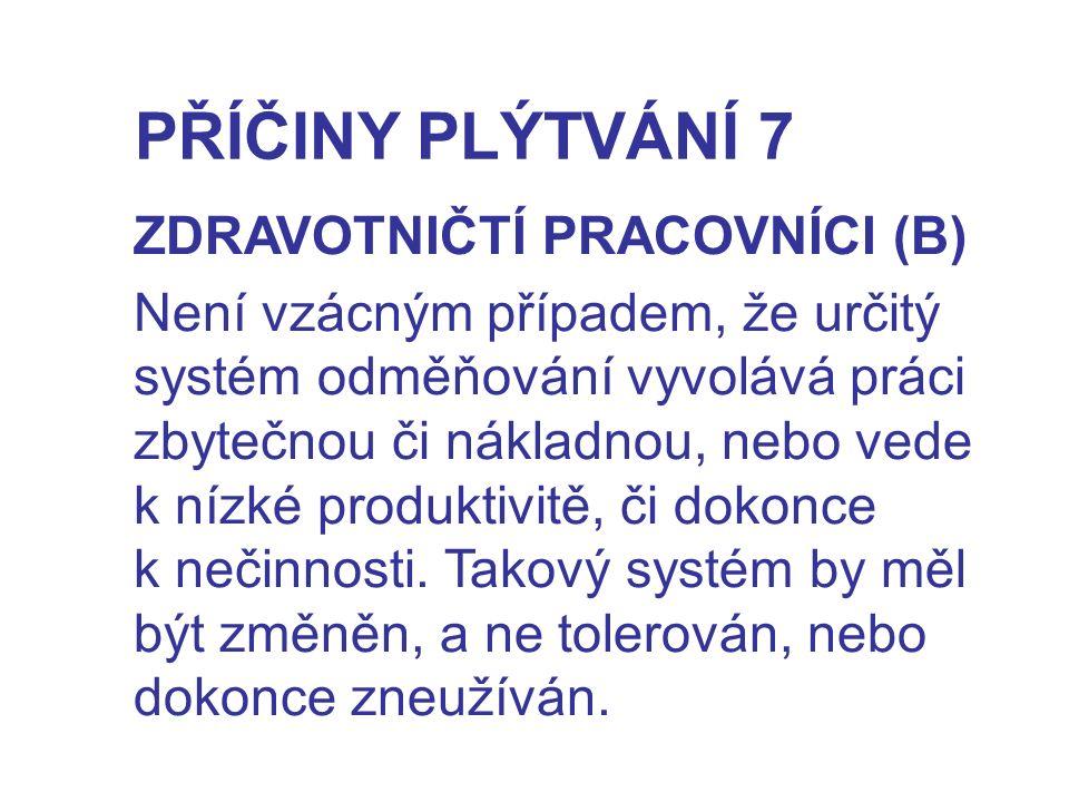 PŘÍČINY PLÝTVÁNÍ 7 ZDRAVOTNIČTÍ PRACOVNÍCI (B)