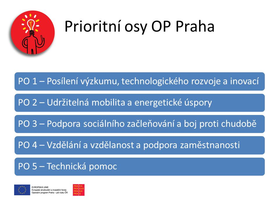 Prioritní osy OP Praha PO 1 – Posílení výzkumu, technologického rozvoje a inovací. PO 2 – Udržitelná mobilita a energetické úspory.