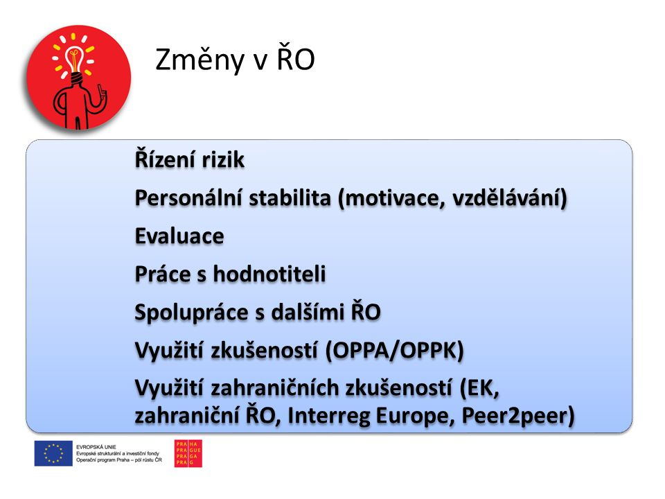 Změny v ŘO Řízení rizik Personální stabilita (motivace, vzdělávání)