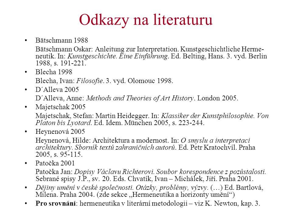 Odkazy na literaturu Bätschmann 1988