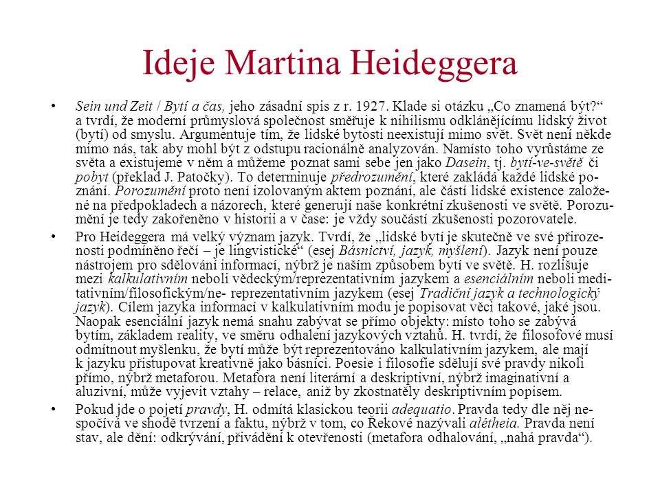 Ideje Martina Heideggera