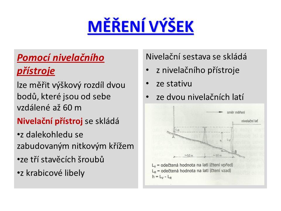 MĚŘENÍ VÝŠEK Pomocí nivelačního přístroje Nivelační sestava se skládá