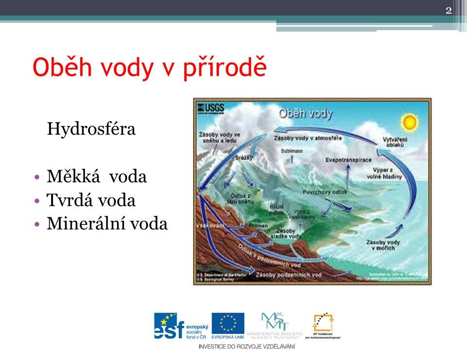Oběh vody v přírodě Hydrosféra Měkká voda Tvrdá voda Minerální voda
