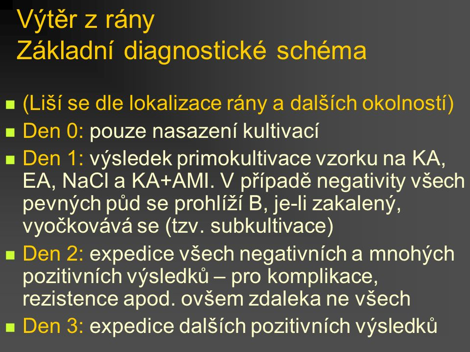 Výtěr z rány Základní diagnostické schéma