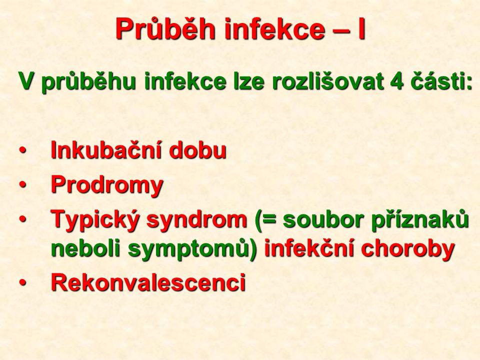 Průběh infekce – I V průběhu infekce lze rozlišovat 4 části:
