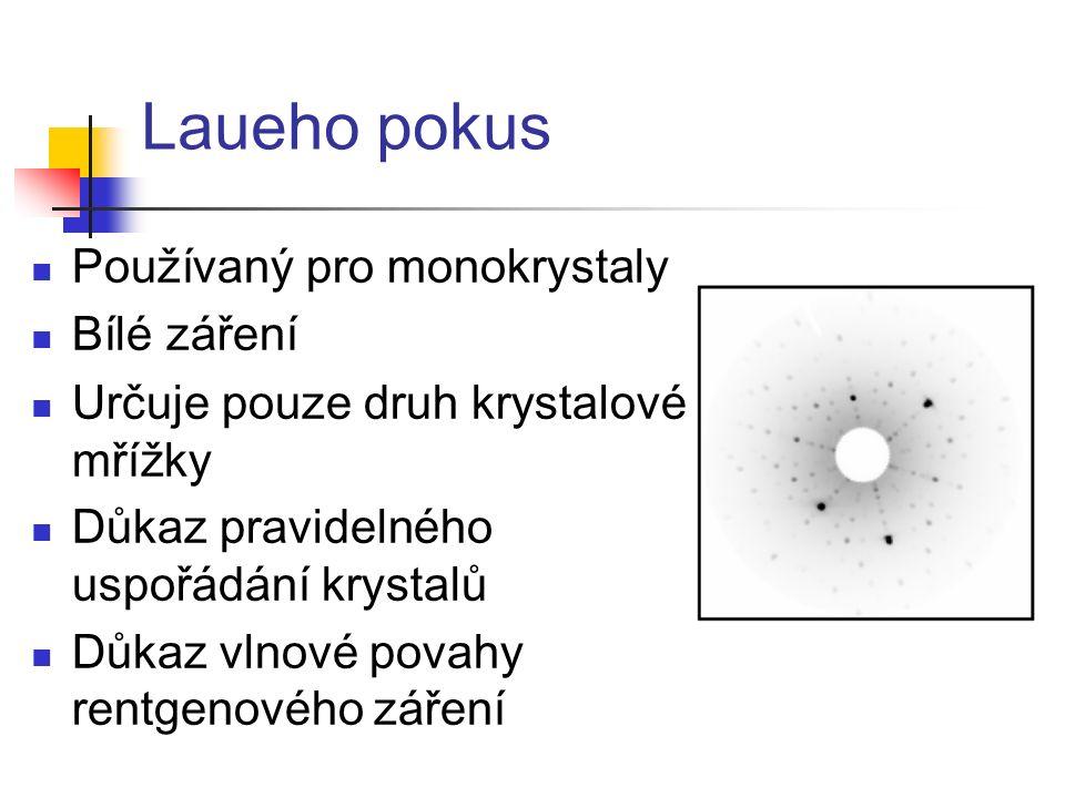 Laueho pokus Používaný pro monokrystaly Bílé záření