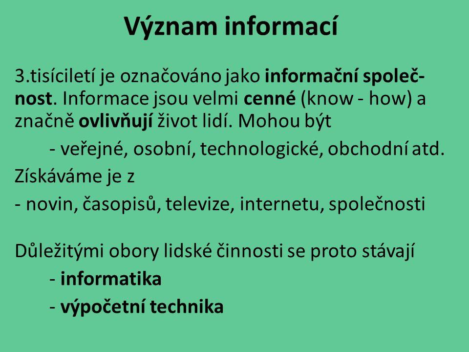 Význam informací