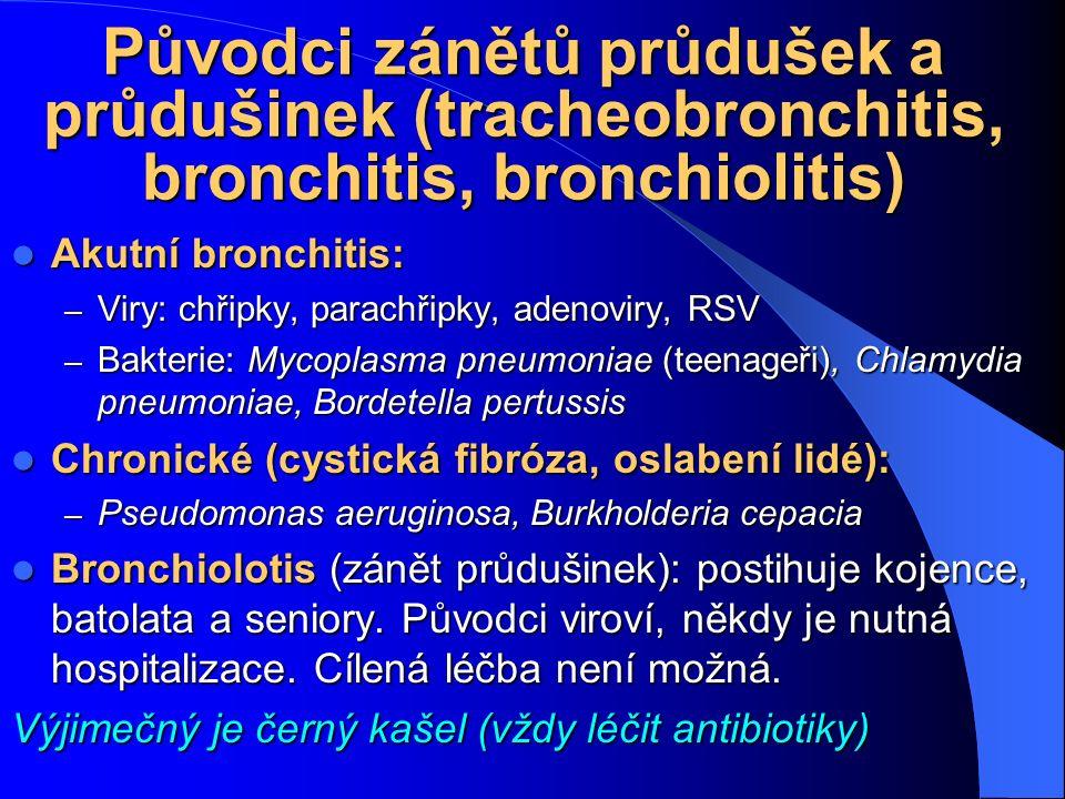 Původci zánětů průdušek a průdušinek (tracheobronchitis, bronchitis, bronchiolitis)