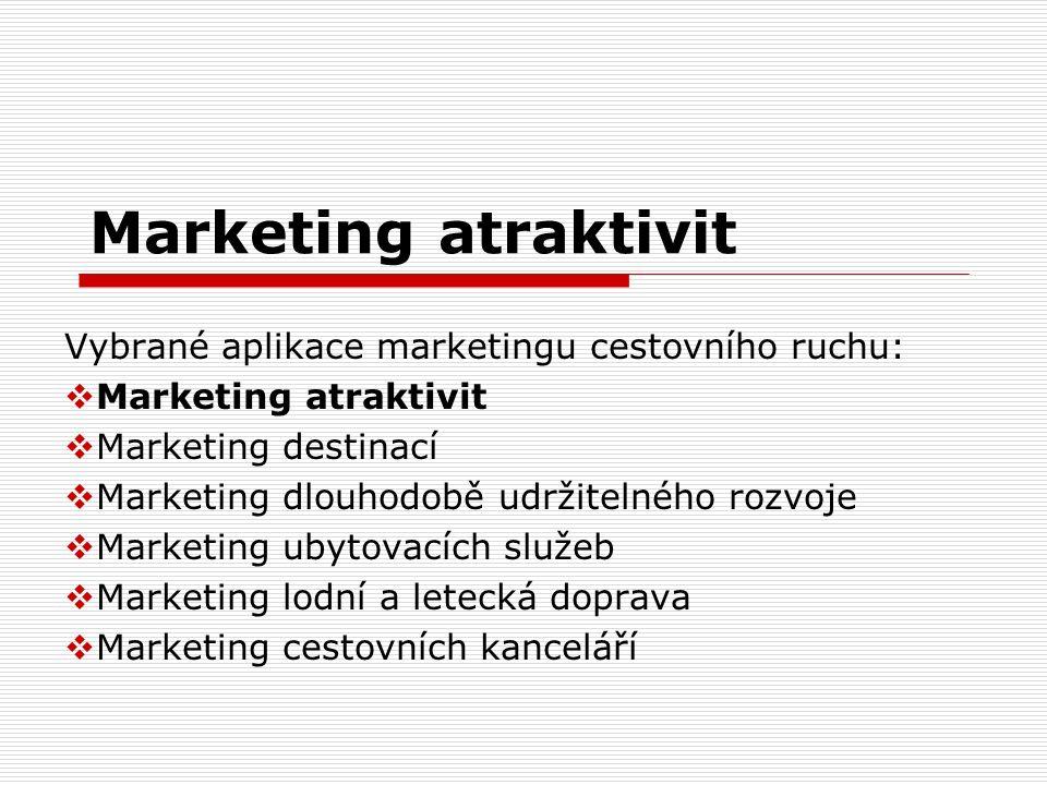 Marketing atraktivit Vybrané aplikace marketingu cestovního ruchu: