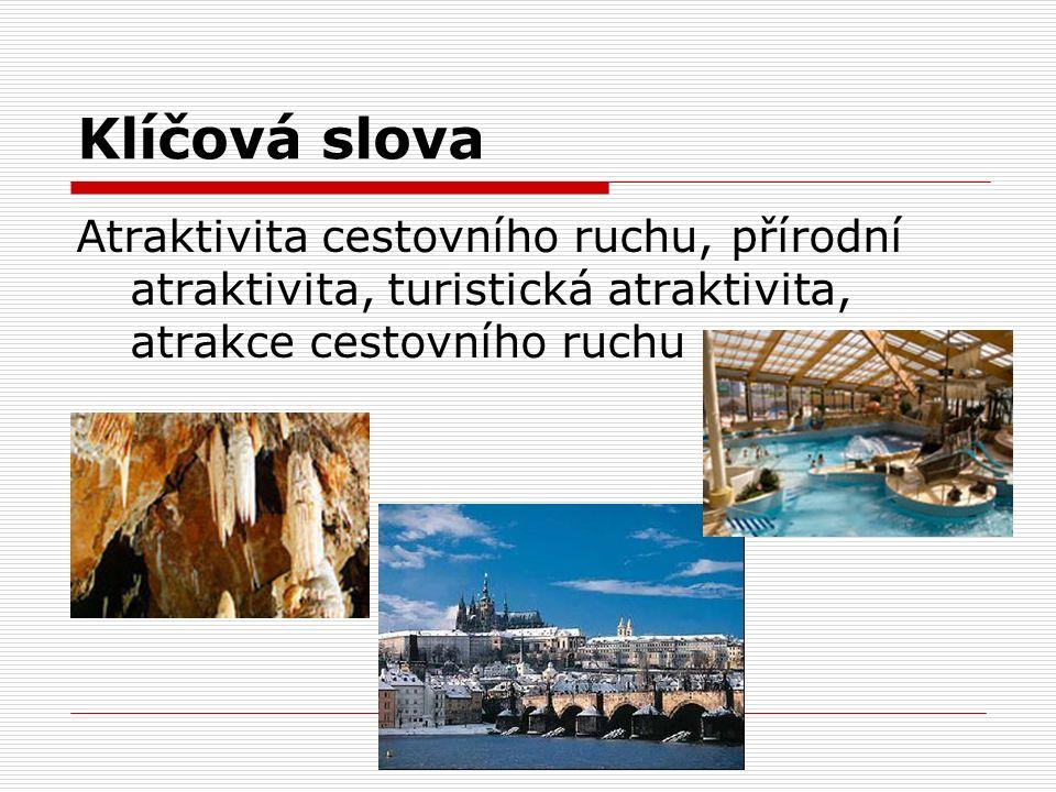 Klíčová slova Atraktivita cestovního ruchu, přírodní atraktivita, turistická atraktivita, atrakce cestovního ruchu.