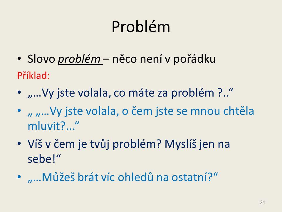 Problém Slovo problém – něco není v pořádku