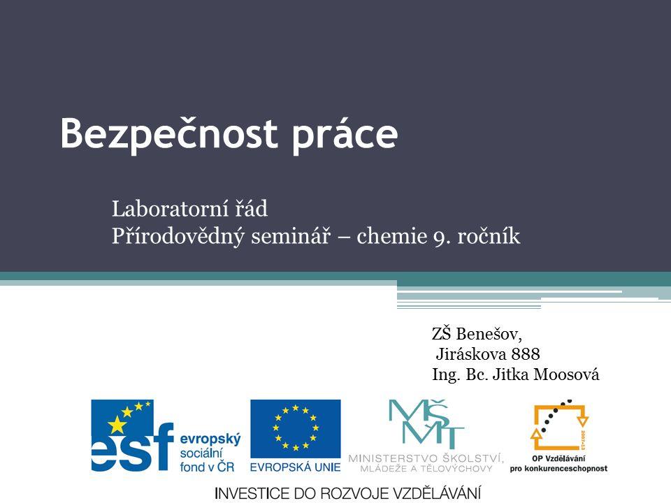 Laboratorní řád Přírodovědný seminář – chemie 9. ročník