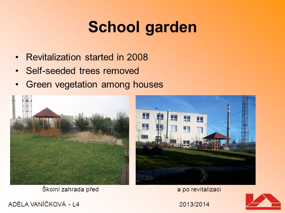 School garden Revitalization started in 2008 Self-seeded trees removed