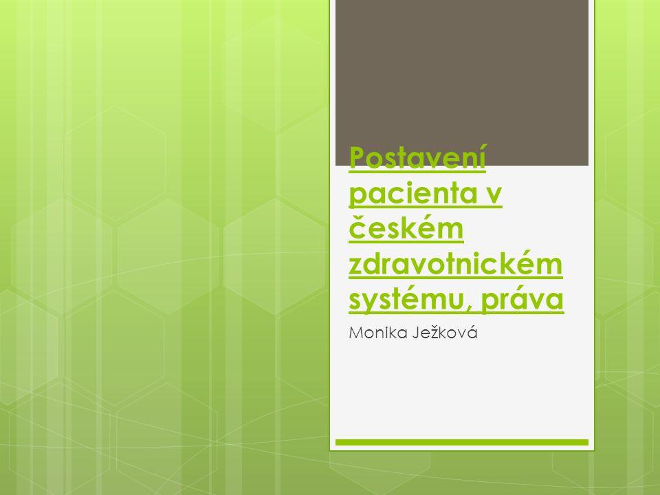 Postavení pacienta v českém zdravotnickém systému, práva
