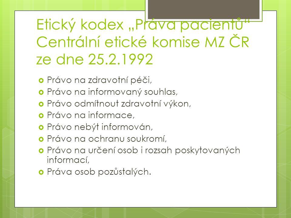 """Etický kodex """"Práva pacientů Centrální etické komise MZ ČR ze dne 25"""