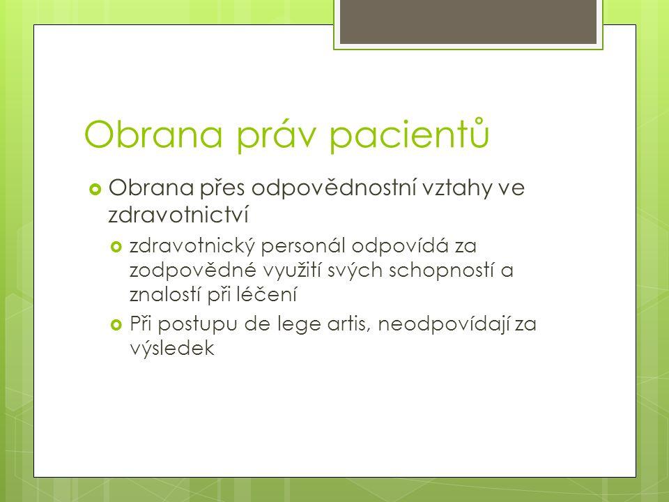 Obrana práv pacientů Obrana přes odpovědnostní vztahy ve zdravotnictví