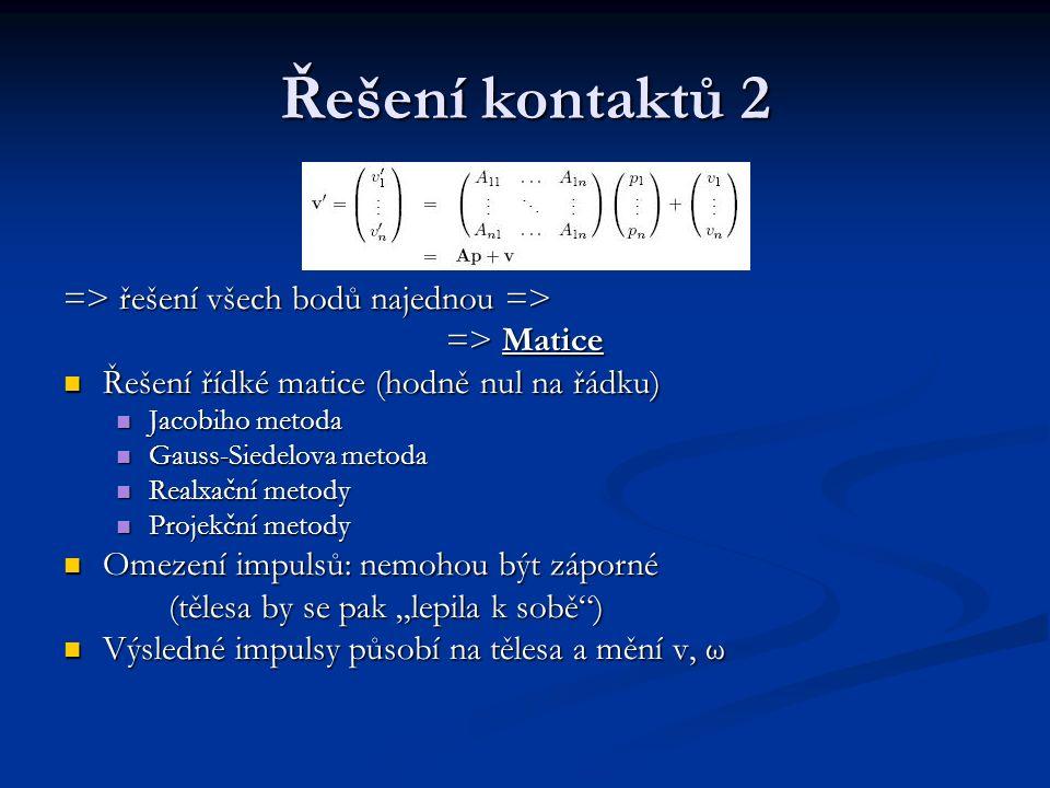 Řešení kontaktů 2 => řešení všech bodů najednou => => Matice