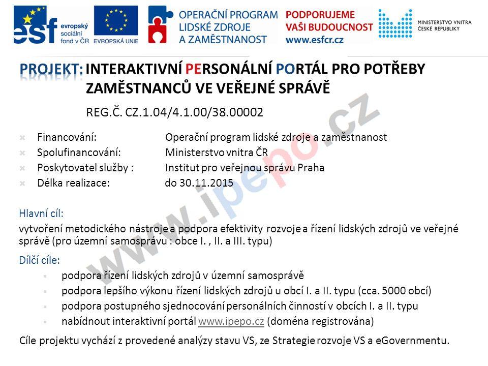 Projekt: interaktivní personální portál pro potřeby zaměstnanců ve veřejné správě reg.č. CZ.1.04/4.1.00/38.00002