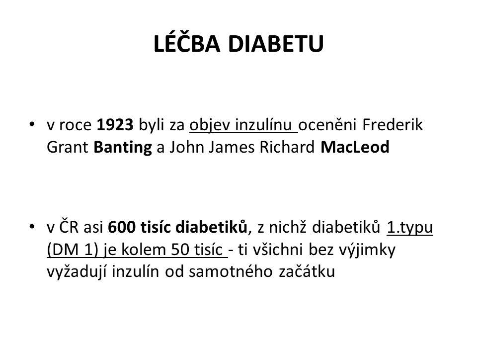 LÉČBA DIABETU v roce 1923 byli za objev inzulínu oceněni Frederik Grant Banting a John James Richard MacLeod.
