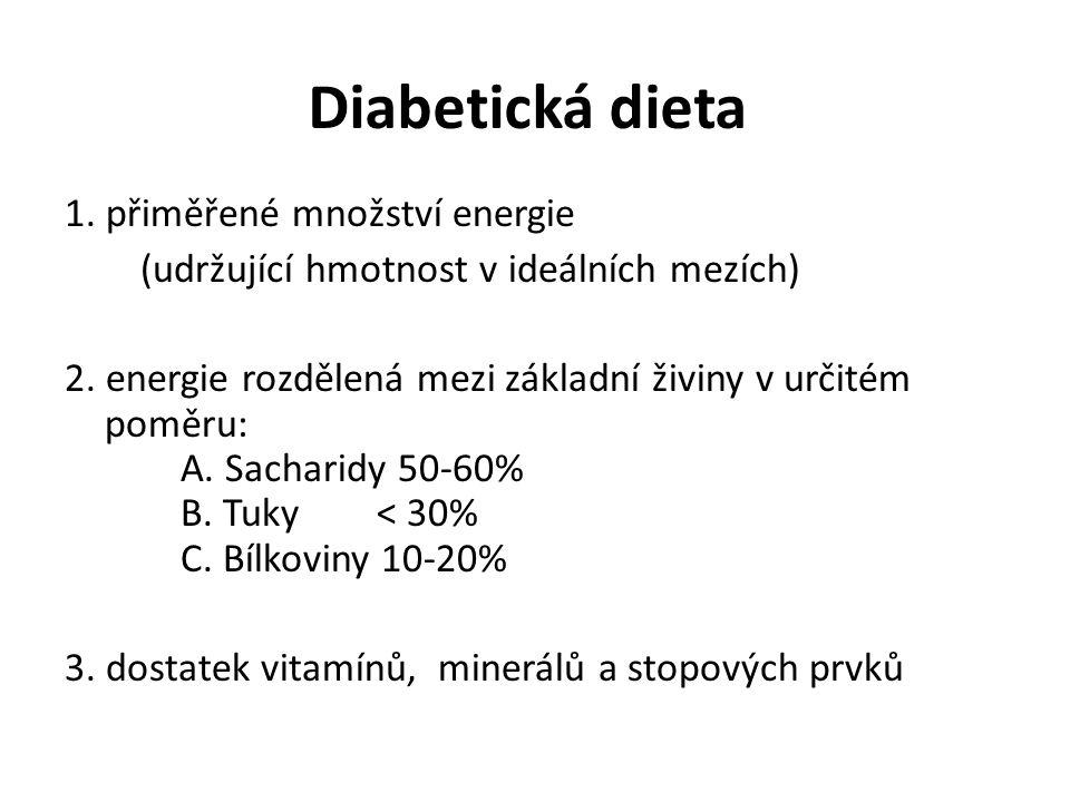 Diabetická dieta 1. přiměřené množství energie
