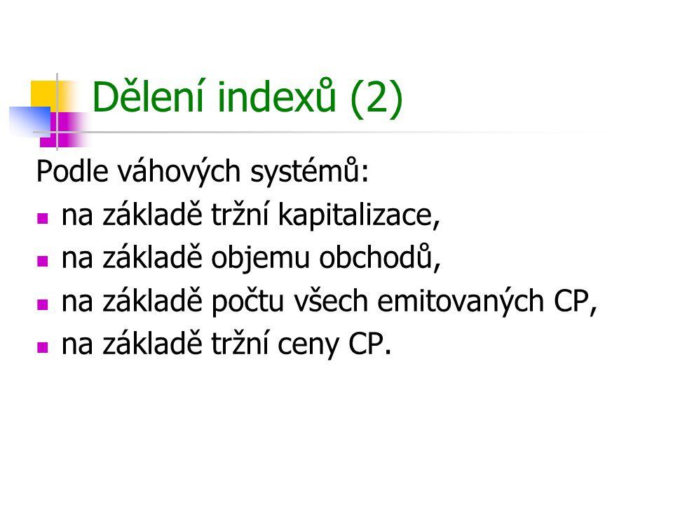 Dělení indexů (2) Podle váhových systémů: