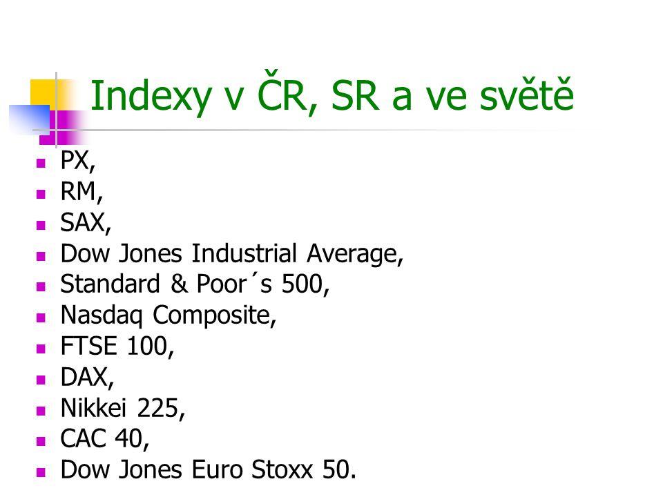 Indexy v ČR, SR a ve světě PX, RM, SAX, Dow Jones Industrial Average,
