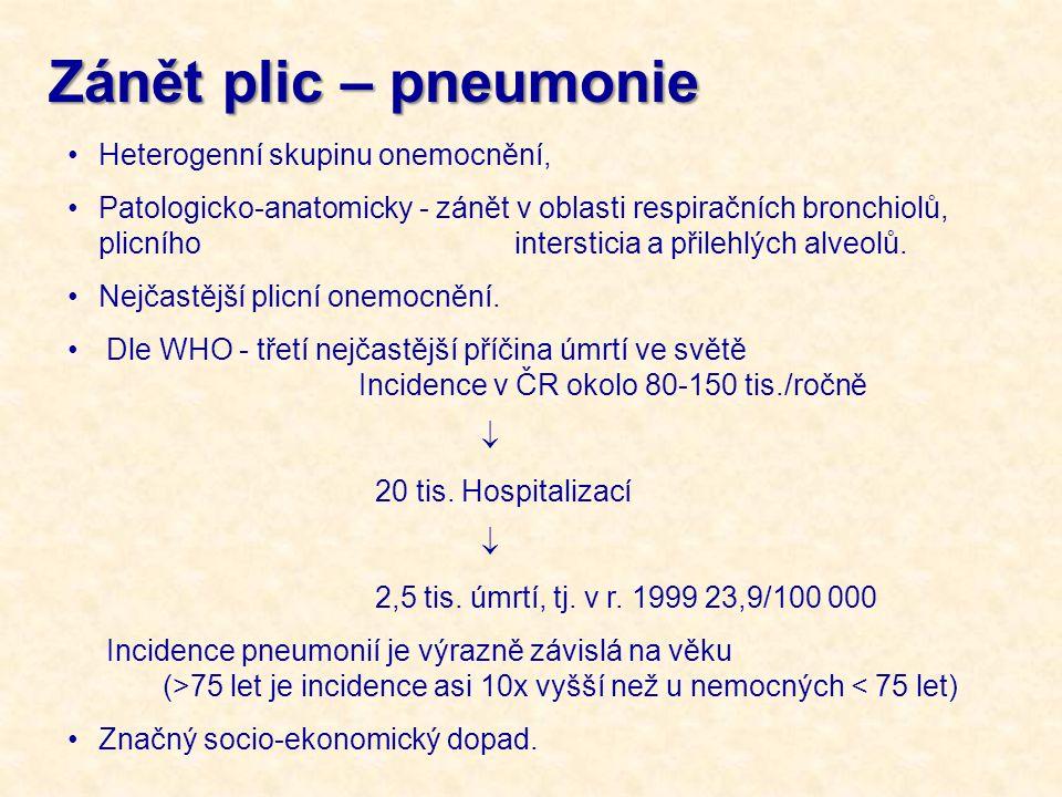 Zánět plic – pneumonie Heterogenní skupinu onemocnění,