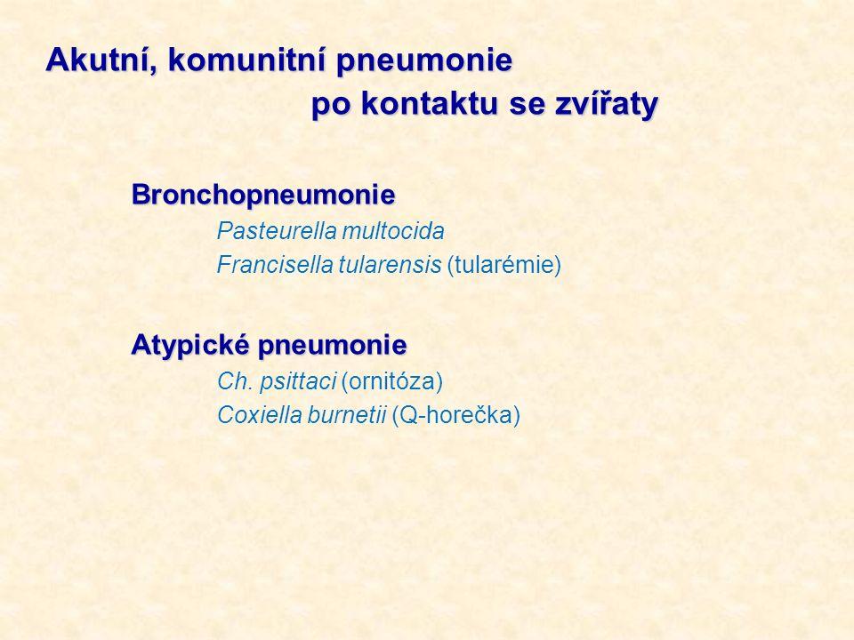 Akutní, komunitní pneumonie po kontaktu se zvířaty