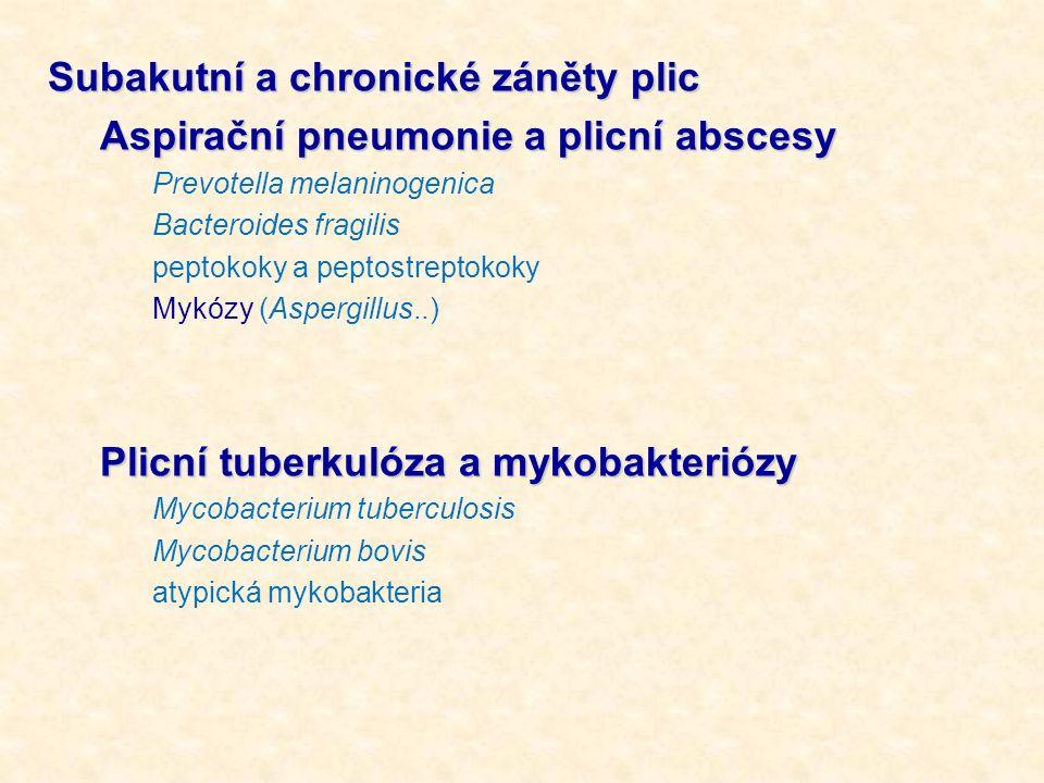 Subakutní a chronické záněty plic Aspirační pneumonie a plicní abscesy
