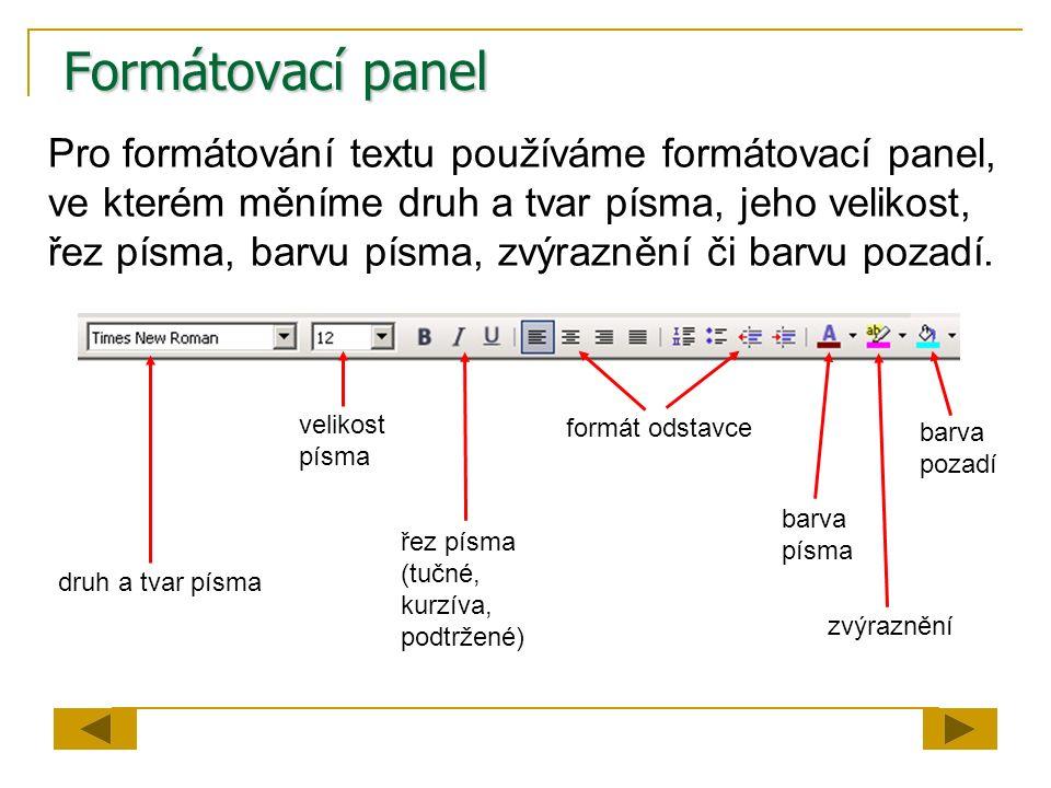 Formátovací panel