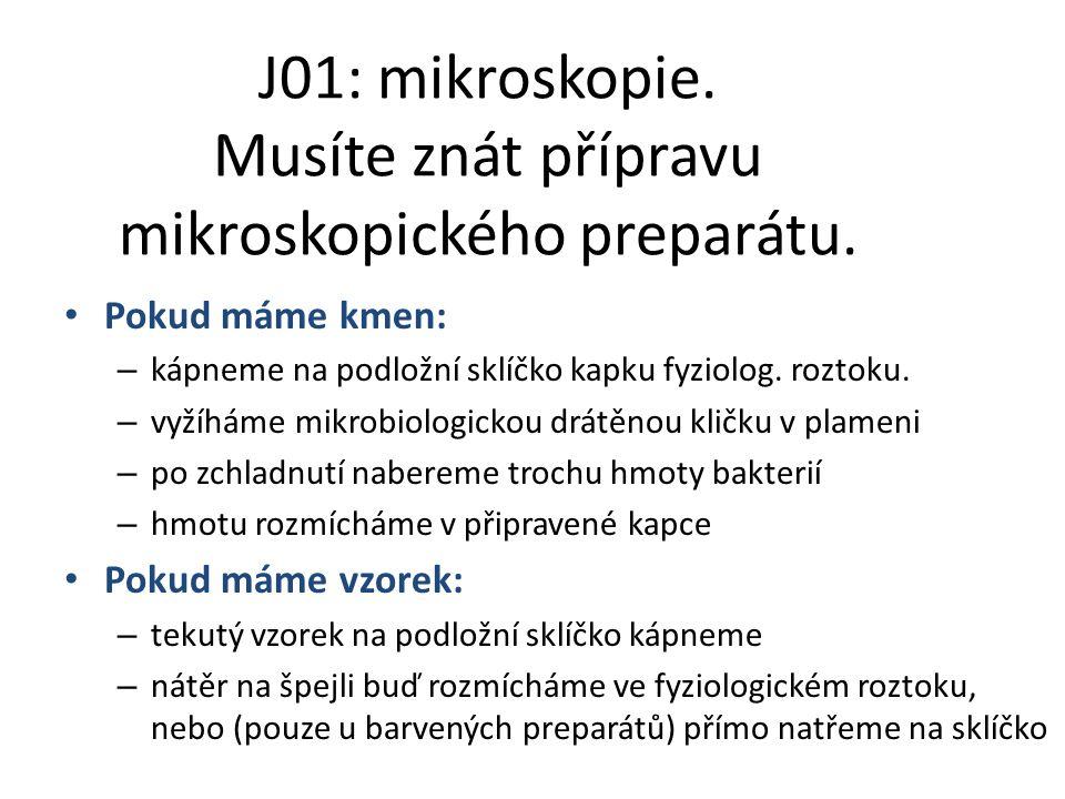 J01: mikroskopie. Musíte znát přípravu mikroskopického preparátu.