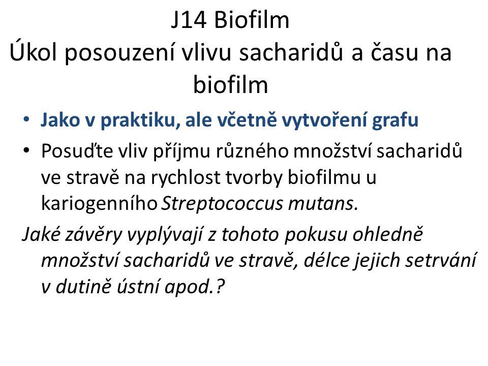 J14 Biofilm Úkol posouzení vlivu sacharidů a času na biofilm