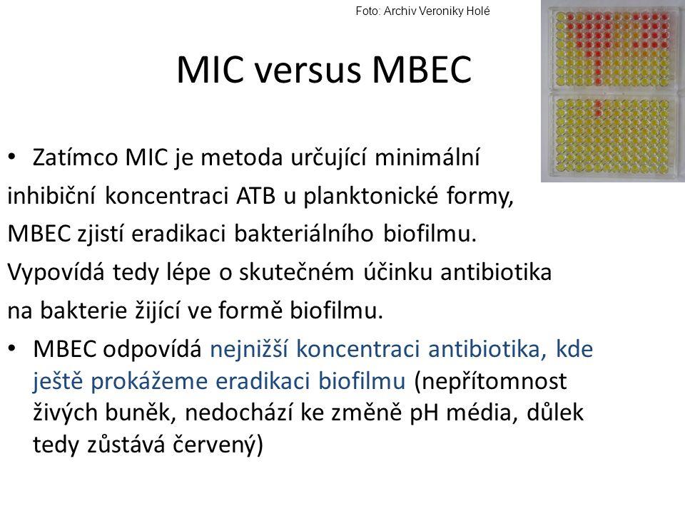 MIC versus MBEC Zatímco MIC je metoda určující minimální