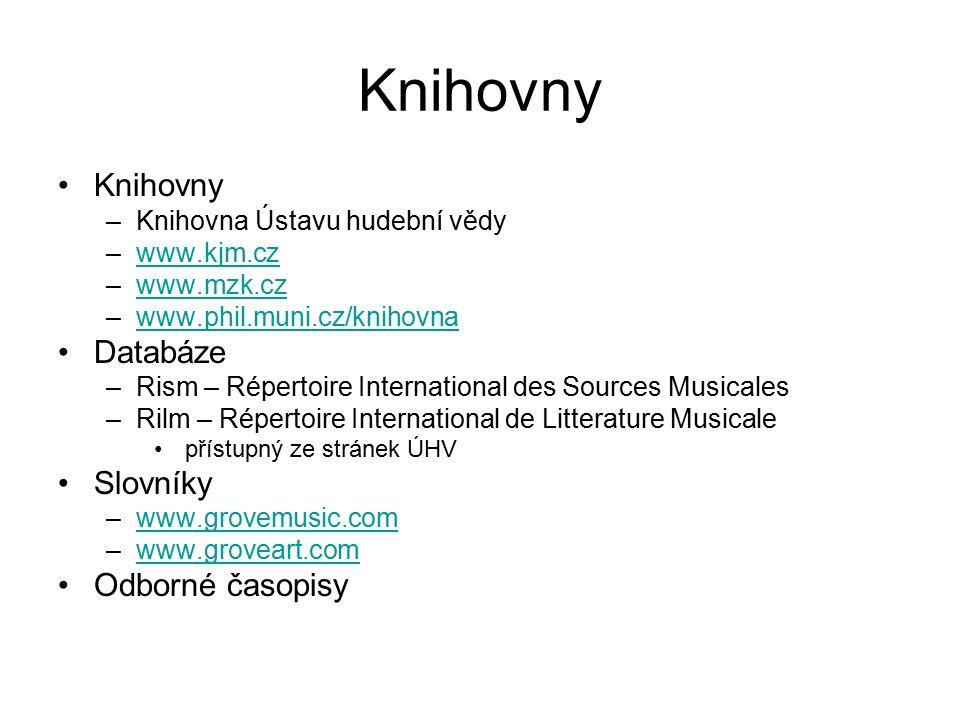 Knihovny Knihovny Databáze Slovníky Odborné časopisy
