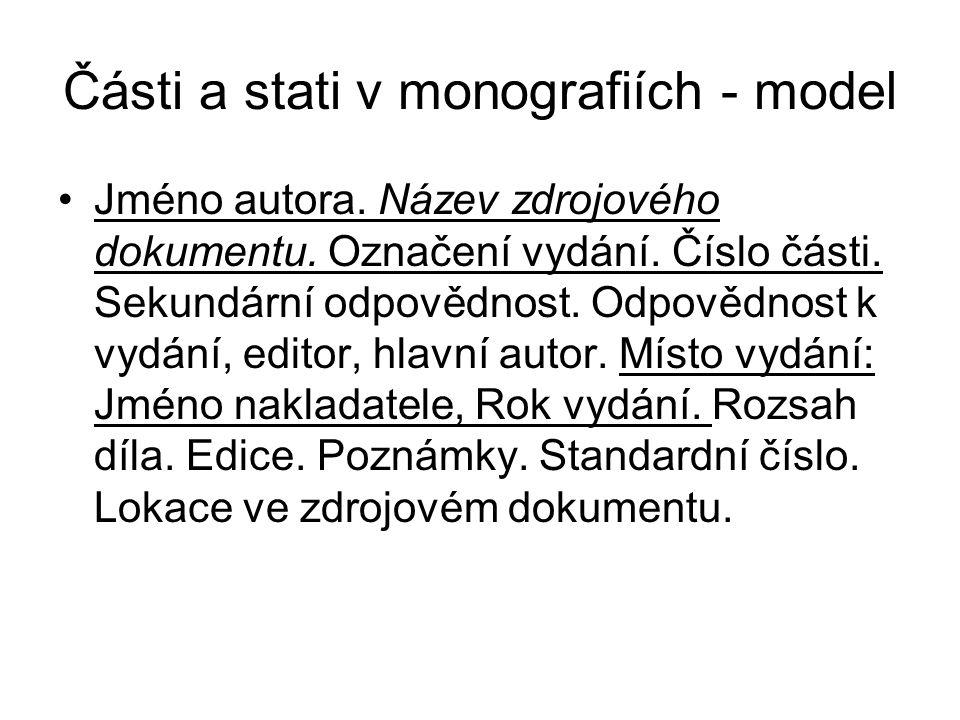Části a stati v monografiích - model