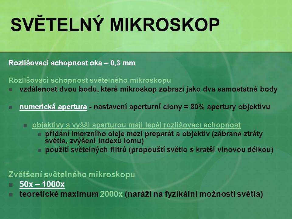SVĚTELNÝ MIKROSKOP Zvětšení světelného mikroskopu 50x – 1000x