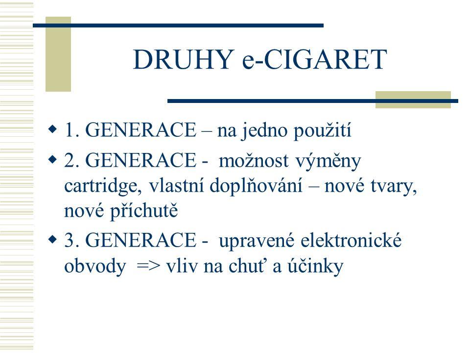 DRUHY e-CIGARET 1. GENERACE – na jedno použití