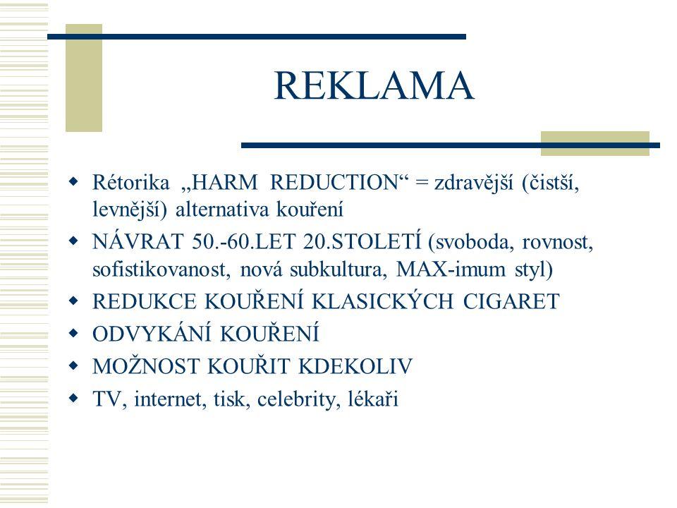 """REKLAMA Rétorika """"HARM REDUCTION = zdravější (čistší, levnější) alternativa kouření."""