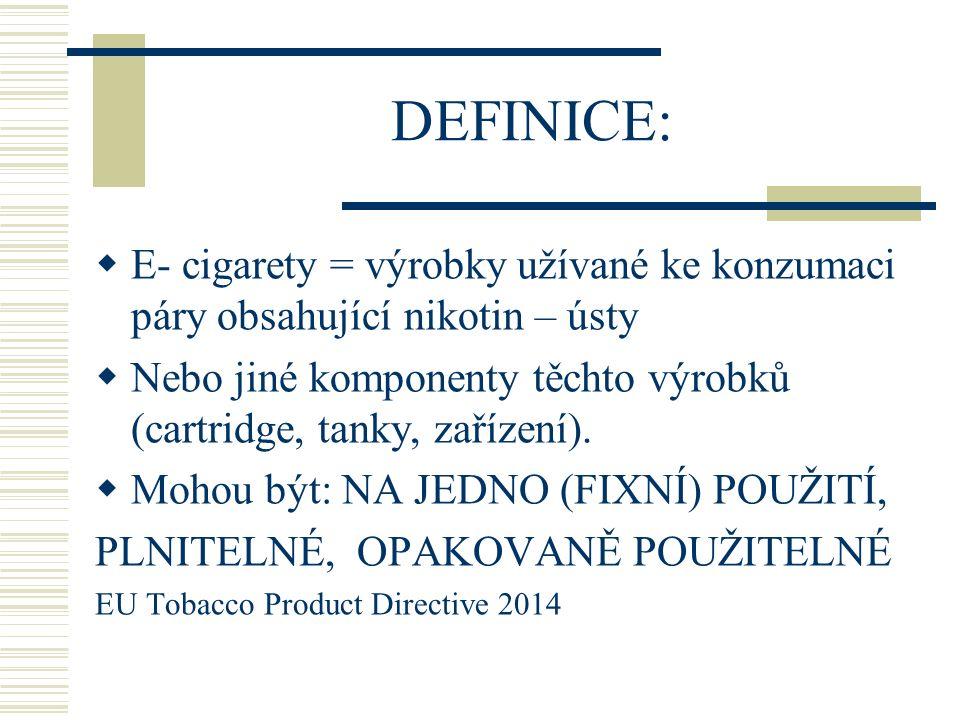 DEFINICE: E- cigarety = výrobky užívané ke konzumaci páry obsahující nikotin – ústy.