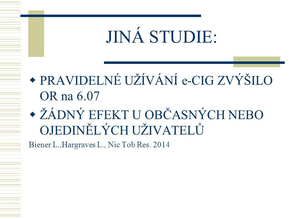 JINÁ STUDIE: PRAVIDELNÉ UŽÍVÁNÍ e-CIG ZVÝŠILO OR na 6.07