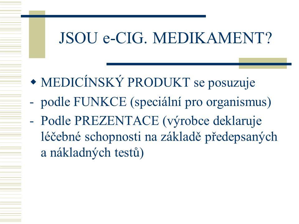JSOU e-CIG. MEDIKAMENT MEDICÍNSKÝ PRODUKT se posuzuje